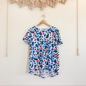 Zara 80s/ 90s Style Abstract Blue/ Red/ Yellow Tee